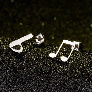 Stainless Steel Music Note Stud Earrings